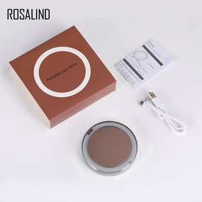 ROSALIND Makeup Mirror with Light Pocket Compact Spiegel Portable Mirror With LED Light USB Charger Cosmetic Tool