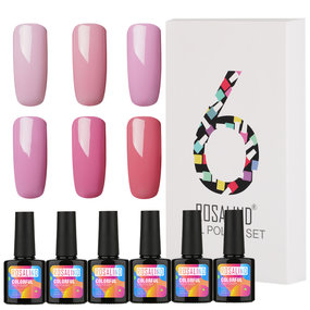 (6PCS/LOT) Pure Color Gel Nail Polish Gift Box 10ml