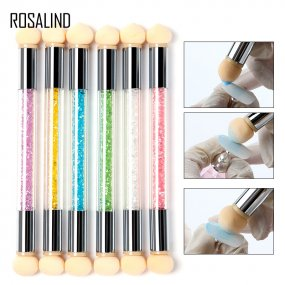 ROSALIND Double End Nail Art Gel Polish Color Gradient Brush + 6 Sponge Head Transfer Stamping Blooming Pen Manicure Tools