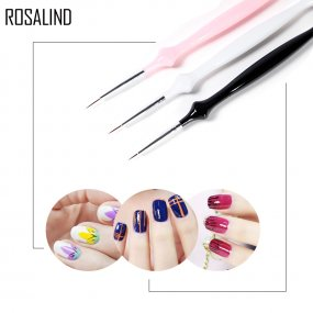 ROSALIND 3Pcs/set Nail Art Brush Crystal Acrylic Thin Liner Drawing Pen Painting Stripes Flower Nail Art Manicure Tools