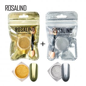 ROSALIND Nail Glitter 2PCS/Lot Silver Gold Set for gel nail polish Manicure Nails Magic Mirror Powder Chrome nails art Pigment