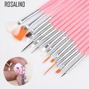 ROSALIND Nail Brush For Manicure Gel Brush For Nail Art 15Pcs/Set Ombre Brush For Gradient For Gel Nail Polish Painting Drawing