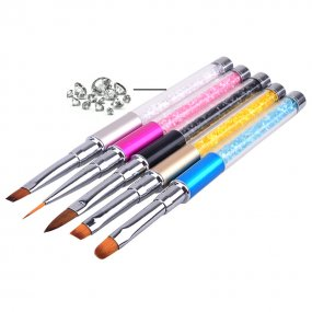 ROSALIND Nail Art Brush Pen Rhinestone Diamond Metal Acrylic Handle Carving Powder Gel Liquid Salon Liner Nail Brushes