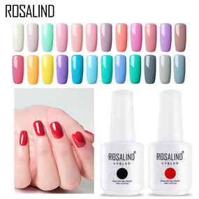 ROSALIND 15ML gel nail polish Art Semi Permanant UV Top Coat Hybrid Varnishes Soak Off Nail Gel Tips White Manicure Set