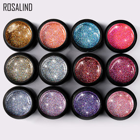 (12 PCS/LOT) ROSALIND 5ml Shiny Rainbow Gel Set Bright For Nail Art Design LED/UV Lamp