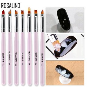 ROSALIND 1PCS 8 Pattern Nail Art Painting Brushes Dotting Design Manicure Nail Brush