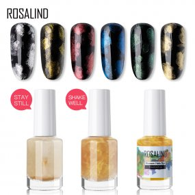 ROSALIND Gold Silver New Arrivals  Sparkling Blossom Nail Polish Set Watercolor Marble Ink Smoke Effect Varnish Gold Silver Salon Art DIY Tool