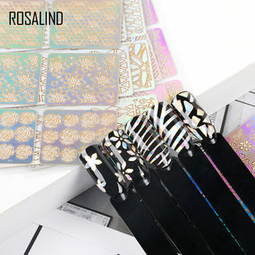 ROSALIND 24 PCS Type Nail Art Gel Polish Nail Sticker Hollow Laser Paper Holographic Stencil Set
