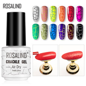 ROSALIND Crackle Nail Polish Color Kit 7ML Art Crackling Gel Varnish Semi-Permanent
