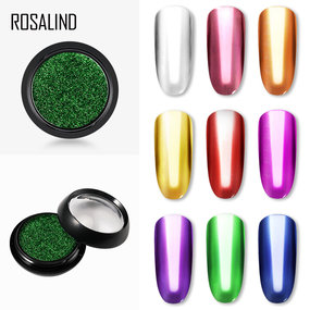 ROSALIND 0.5g Nail Art Glitter Mirror Powder Sparkle Chrome Glitter 9 Colours  Pigment Powder For Nail Design Manicure Mirror Glitter