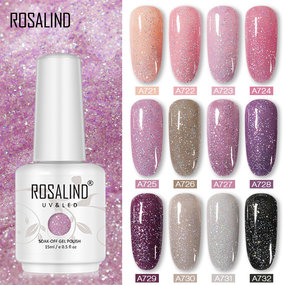 ROSALIND 15ML Holo Glitter Shiny Semi Permanent Vernis UV Gel Varnish Hybrid Gel Nail Polish