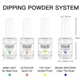 Rosalind Dip System Activator & 2 In 1Top Coat &Base Coat &Brush Restorer For Dipping Powder Primer