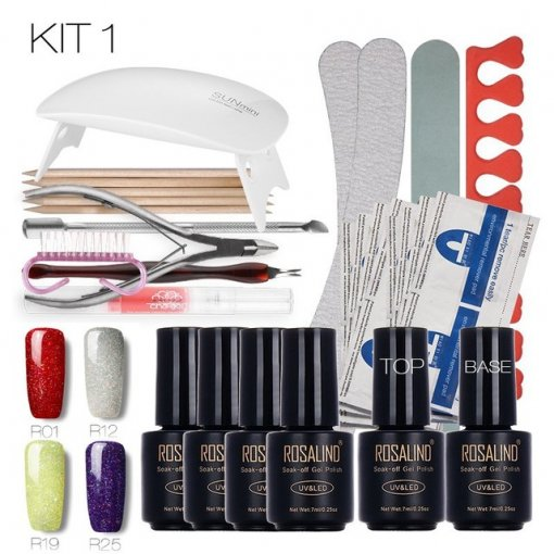 Rainbow&Faux Fur&Temperature Changing& Cat Eyes Nail Art Tools Cure 6W UV Lamp Gel Polish
