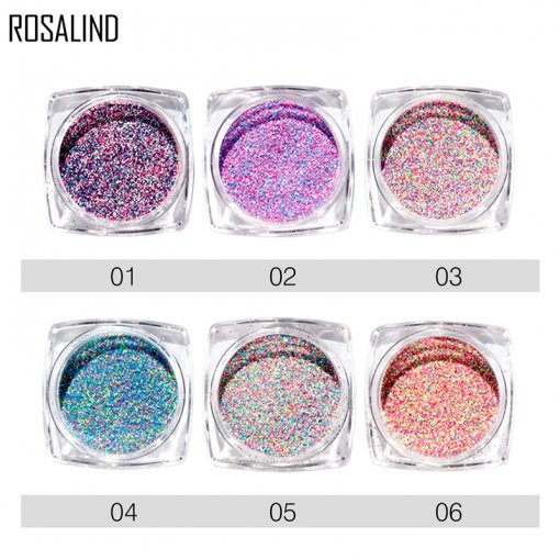 ROSALIND Mixed Colors DIY Decoration Nail Powder Nail Glitter Nail Art Decoration 6 Colors