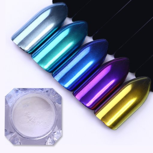 2g Mirror Shell Powder Mirror Effect Neon Glitter Chrome Pigment Dust for Nail Gel UV Polish Tips Manicure Decorations