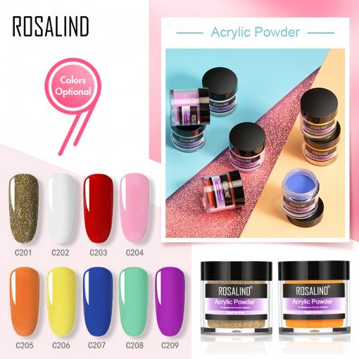 ROSALIND 10g 3 IN 1 Acrylic Powder & Dip Powder & Carved Powder Nail Art Decorations Tip Builder For Nails Extension