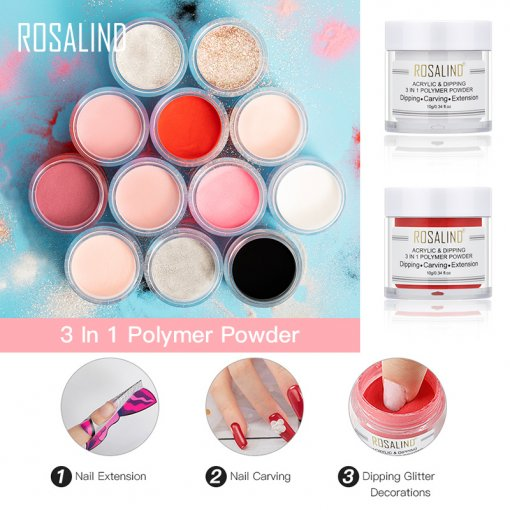ROSALIND 3 In 1 Powder Crystal Acrylic Powder &Dipping Powder &Carving Powder 10g For Nail Extension Nail Builder Multifunctional