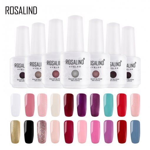 ROSALIND Big Bottle Classic Color Gelish Nail Gel NAIL UV LED Soak Off Nail Gel Polish Manicure Pedicure 15ml 60 Colours