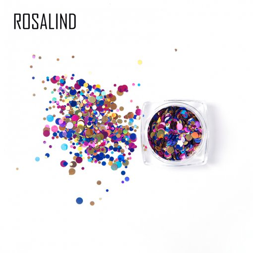 Rosalind Mixed Color 3D Ultrathin Sequins Nail Glitter Flakes 3/1.5/3mm Sparkly DIY Tips Round Hexagon Holographic Paillette Nail Art Decorations