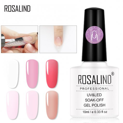ROSALIND 3 in 1 10ml one step Acrylic Poly Extension Gel Quick Building Gel Polish Clear Pink Nail Tips Builder UV Gel Nail Art Soak Off
