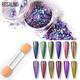 ROSALIND 0.2g Laser Nail Glitter Peacock Holographic Mirror Powder Laser Dust Nail Art Chrome Pigment Powder DIY Decorations