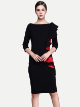 Color Block Ruffle Trim Work Pencil Dress