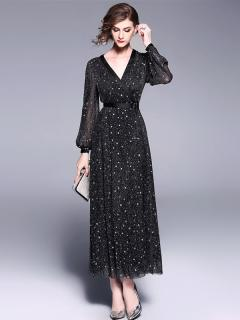 Black Long Sleeve Maxi Evening Dress