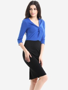 Color Block V Neck Pleated Work Bodycon Dress