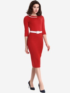 Red Belted Business Work Pencil Dress