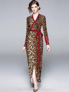 Leopard Print Maxi Evening Dress