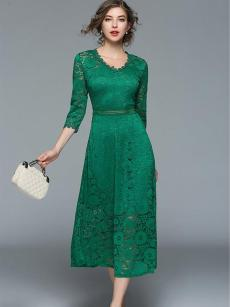 Green Lace Long Evening Dress