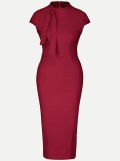 Solid Bodycon Work Pencil Midi Dress