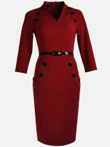 Red Belted Work Pencil Dress