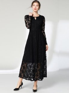 Black Lace Long Evening Dress