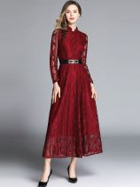 Solid Lace Maxi Evening Dress