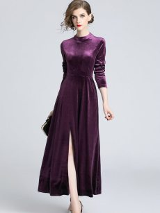 Purple Long Velvet Evening Dress