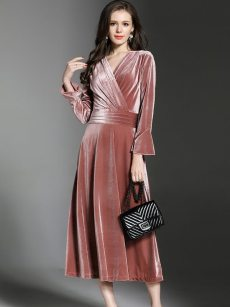 Solid Long Velvet Evening Dress