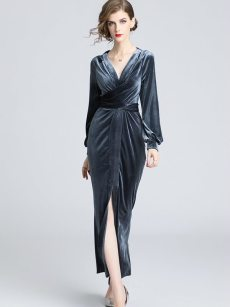 Solid Slit Velvet Long Evening Dress