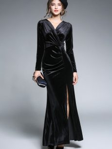 Ruched High Slit Bodycon Velvet Formal Dress