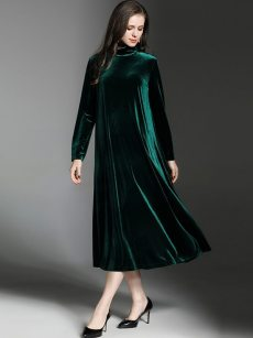 Solid Long Sleeve Velvet Evening Dress