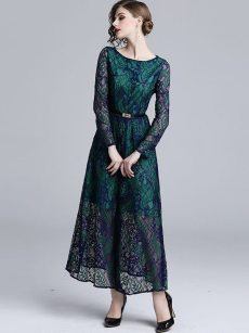 Green Overlay Lace Long Evening Dress