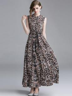 Leopard Print Sleeveless Formal Dress