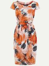 60s Leaf Print Wrap Bodycon Dress