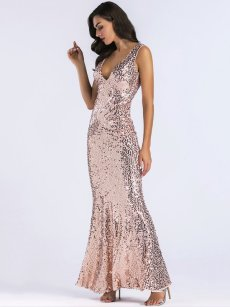 Gold Sequin Mermaid Bodycon Maxi Evening Dress