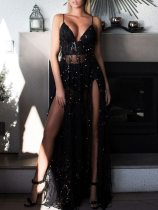 Solid Slit Backless Maxi Evening Dress