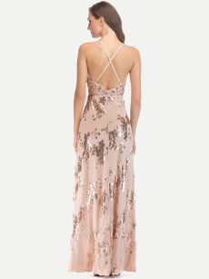 Sequin Backless Slit Glitter Maxi Cami Dress