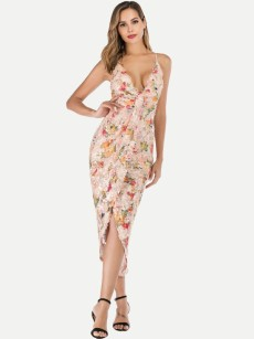 Floral Bodycon Wrap Cami Formal Dress