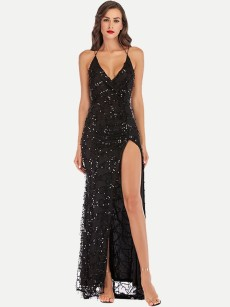 High Slit Sequin Evening Gown Dress