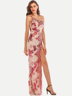 One Shoulder Embroidered Sequin High Slit Dress
