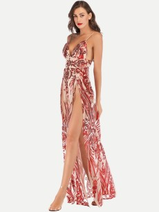 Red Slit Sequin Evening Dress